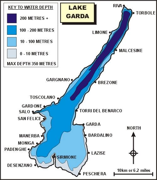 lake garda on map Lake Garda Statistics lake garda on map