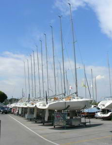 Yachts by the port area.