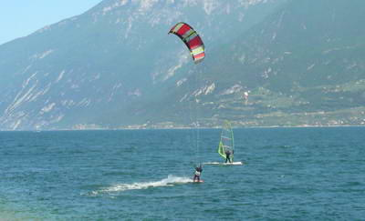 As you would expect, kite surfers and wind surfers all flock to the same area