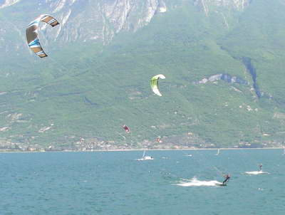Kite surfing with Malcesine in the background