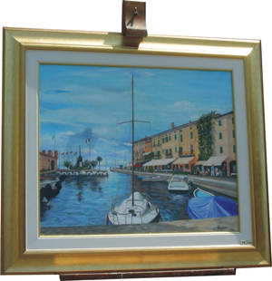 Painting of the harbour at Lazise