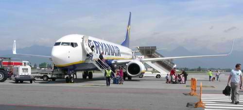 Plane at Bergamo airport