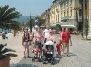 Family stroll on the lakeside promenade