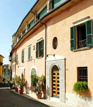 Outside the hotel Degli Oleandri