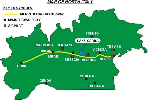 Map of North Italy showing airports near Lake Garda