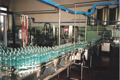 Olive oil bottling line in a local factory