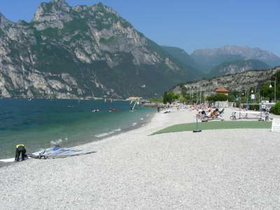 Many a surf has started from the beach at Torbole!